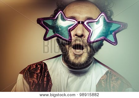 Joy, Man with glasses and stupid face huge stars, selfie