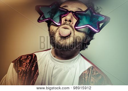 Tongue, Man with glasses and stupid face huge stars, selfie
