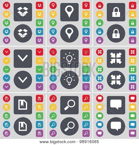 Dropbox, Checkpoint, Lock, Arrow Down, Light Bulb, Deploying Screen, File, Magnifying Glass, Chat Bu