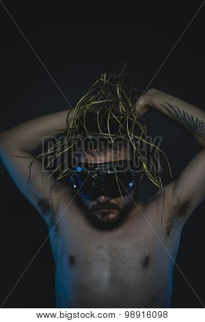 busy, depression and anxiety, naked man with a crown of thorns on his head