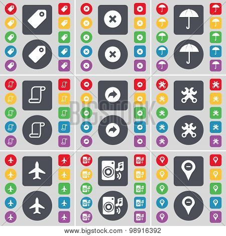 Tag, Stop, Umbrella, Scroll, Back, Wrench, Airplane, Speaker, Checkpoint Icon Symbol. A Large Set Of