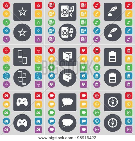 Star, Speaker, Ink Pot, Connection, Wallet, Battery, Gamepad, Chat Cloud, Compass Icon Symbol. A Lar