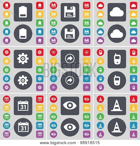 Battery, Floppy, Cloud, Gear, Back, Mobile Phone, Calendar, Vision, Cone Icon Symbol. A Large Set Of