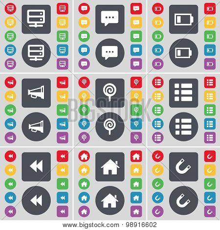 Bed-table, Chat Bubble, Battery, Megaphone, Lollipop, List, Rewind, House, Magnet Icon Symbol. A Lar