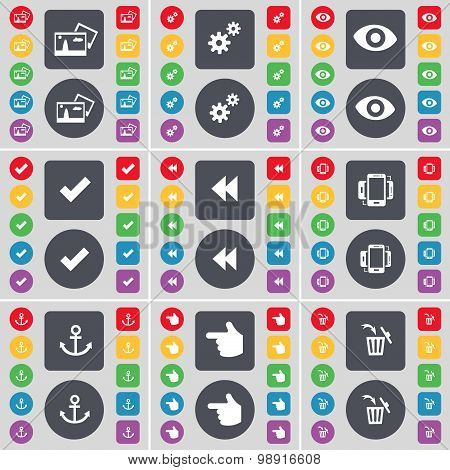 Picture, Gear, Vision, Tick, Rewind, Smartphone, Anchor, Hand, Trash Can Icon Symbol. A Large Set Of