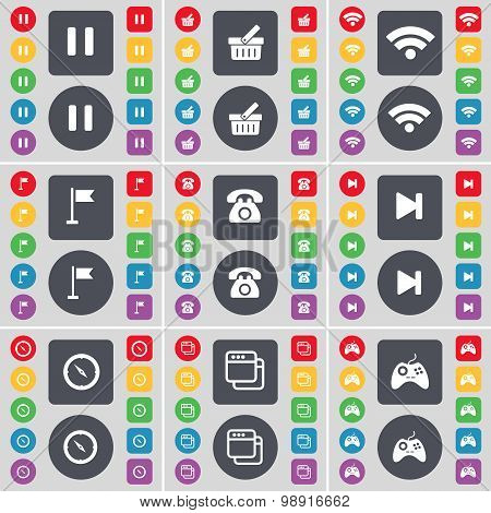 Pause, Basket, Wi-fi, Golf Hole, Retro Phone, Media Skip, Compass, Window, Gamepad Icon Symbol. A La