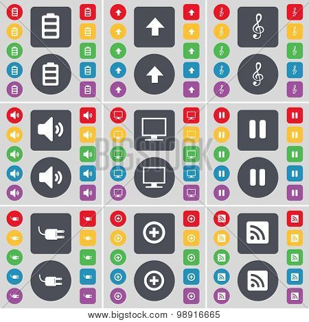 Battery, Arrow Up, Clef, Speaker, Monitor, Pause, Socket, Plus, Rss Icon Symbol. A Large Set Of Flat