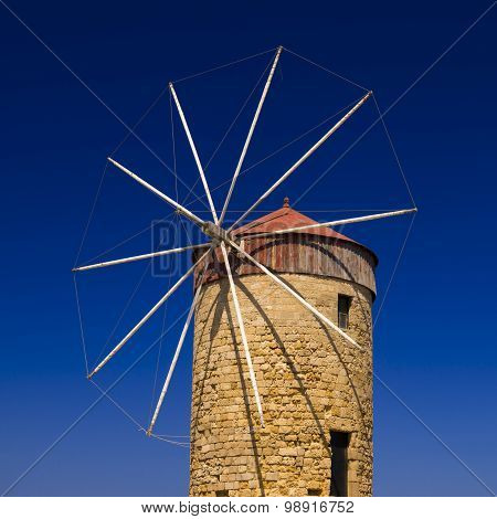 Traditional Windmill At Mandraki Harbour, Rhodes