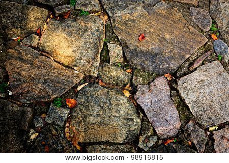 old stone pavement - abstract background