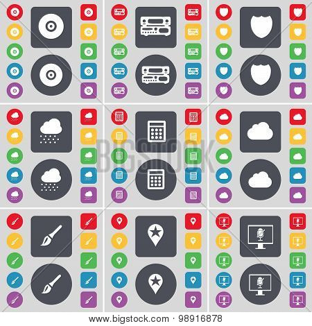 Disk, Record-player, Badge, Cloud, Calculator, Brush, Checkpoint, Monitor Icon Symbol. A Large Set O
