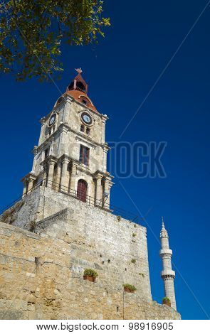 Clock Tower And Mosque Minaret Of Old Rhodes