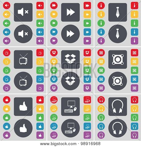 Mute, Rewind, Tie, Retro Tv, Dropbox, Speaker, Like, Pc, Headphones Icon Symbol. A Large Set Of Flat