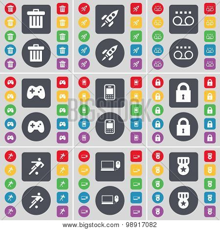 Trash Can, Rocket, Cassette, Gamepad, Mobile Phone, Lock, Silhouette, Laptop, Medal Icon Symbol. A L