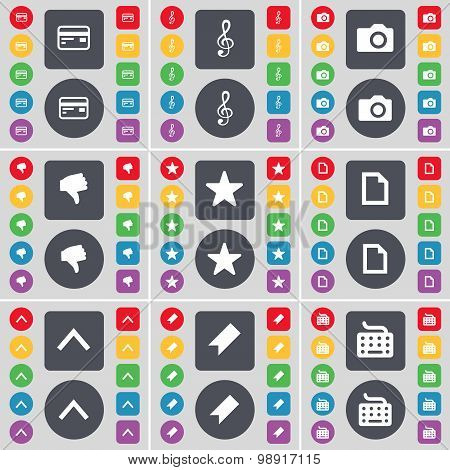 Credit Card, Clef, Camera, Dislike, Star, File, Arrow Up, Marker, Keyboard Icon Symbol. A Large Set