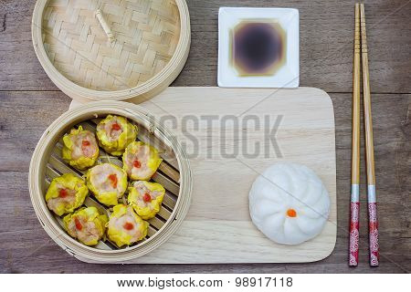 Chinese Steamed Dimsum And Steamed Bun In Bamboo