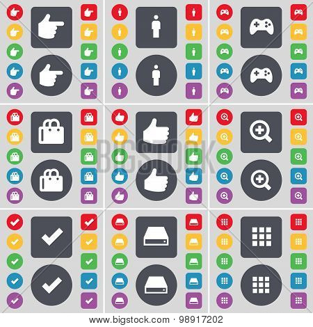 Hand, Silhouette, Gamepad, Shopping Bag, Like, Magnifying Glass, Tick, Hard Drive, Apps Icon Symbol.
