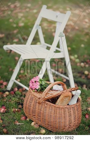 Garden chairs and picnic basket on green grass. Toned image.