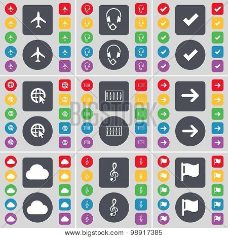 Airplane, Headphones, Tick, Web Cursor, Equalizer, Arrow Right, Cloud, Clef, Flag Icon Symbol. A Lar