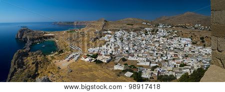 St Paul's Bay And The Acropolis Of Lindos