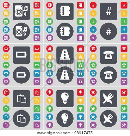 Speaker, Marker, Hashtag, Battery, Road, Retro Phone, Survey, Light Bulb, Fork And Knife Icon Symbol