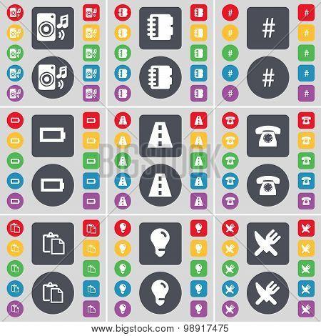 Speaker, Marker, Hashtag, Battery, Road, Retro Phone, Survey, Light Bulb, Fork And Knife Icon Symbol