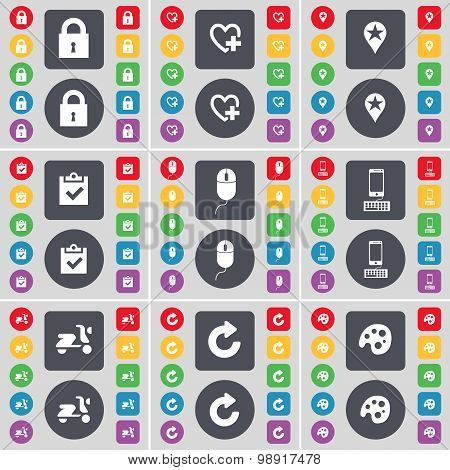 Lock, Heart, Checkpoint, Survey, Mouse, Smartphone, Scooter, Reload, Palette Icon Symbol. A Large Se