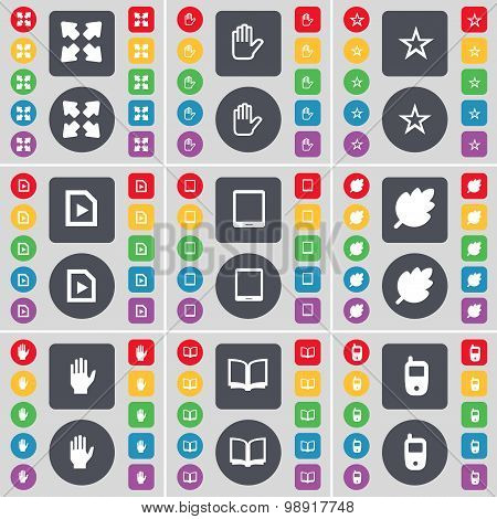 Full Screen, Hand, Star, Media File, Tablet Pc, Leaf, Hand, Book, Mobile Phone Icon Symbol. A Large