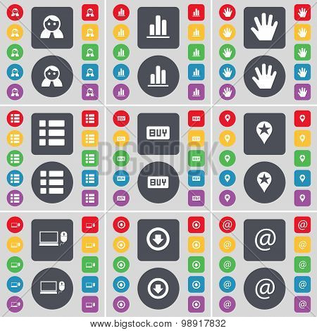 Avatar, Diagram, Hand, List, Buy, Checkpoint, Laptop, Arrow Down, Mail Icon Symbol. A Large Set Of F