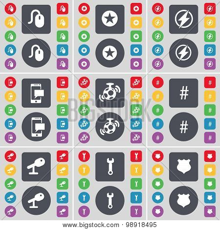 Mouse, Star, Flash, Sms, Speaker, Hashtag, Microphone, Wrench, Police Badge Icon Symbol. A Large Set