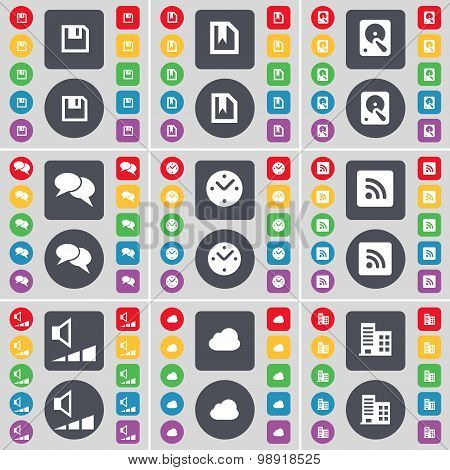 Floppy, File, Hard Drive, Chat, Clock, Rss, Volume, Cloud, Building Icon Symbol. A Large Set Of Flat