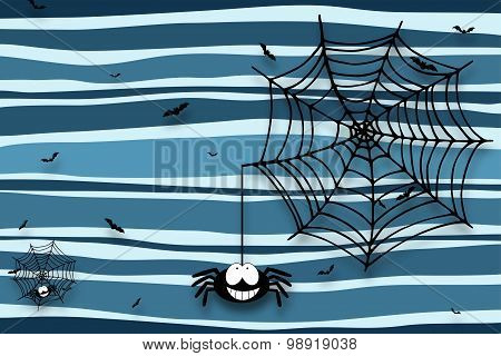 Halloween Background With Spider, Cobweb And Bats - Drop Shadow