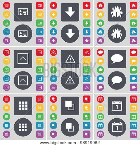 Contact, Arrow Down, Bug, Arrow Up, Warning, Chat Bubble, Apps, Copy, Calendar Icon Symbol. A Large