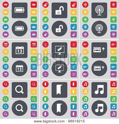 Battery, Lock, Wi-fi, Calendar, Monitor, Cassette, Magnifyign Glass, Marker, Note Icon Symbol. A Lar