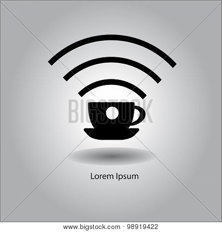 Illustration Vector Black Cup With Wireless Signal Sign Symbol.
