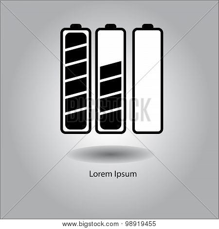 Illustration Vector Very Long Battery Black And White Icon.
