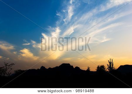 Bright Sunset In Sky Over Vang Vieng Landscape, Laos.