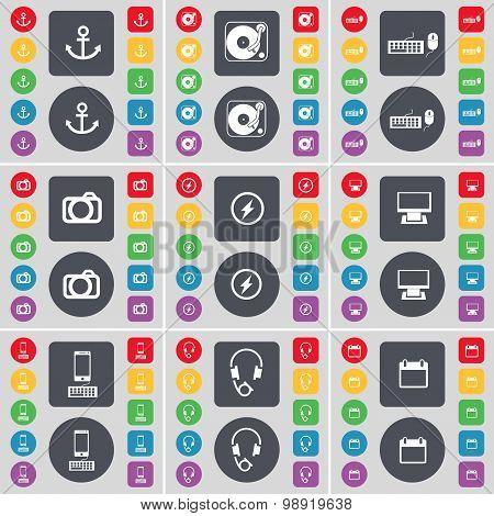 Anchor, Gramophone, Keyboard, Camera, Flash, Monitor, Smartphone, Headphones, Calendar Icon Symbol.