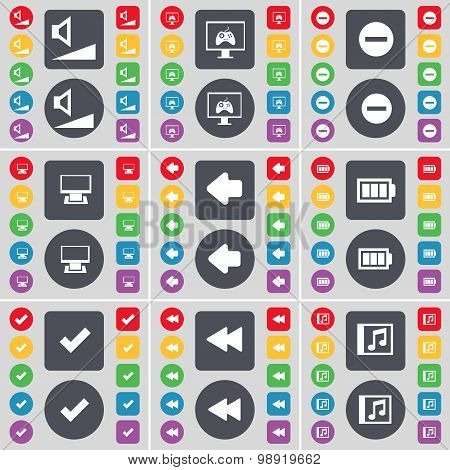 Volume, Monitor, Minus, Arrow Left, Battery, Tick, Rewind, Music Window Icon Symbol. A Large Set Of