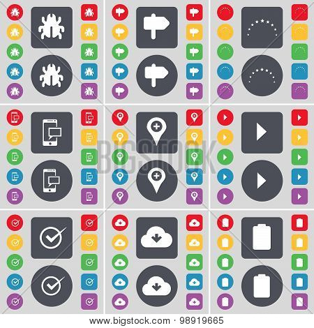Bug, Signpost, Stars, Sms, Checkpoint, Media Play, Tick, Cloud, Battery Icon Symbol. A Large Set Of