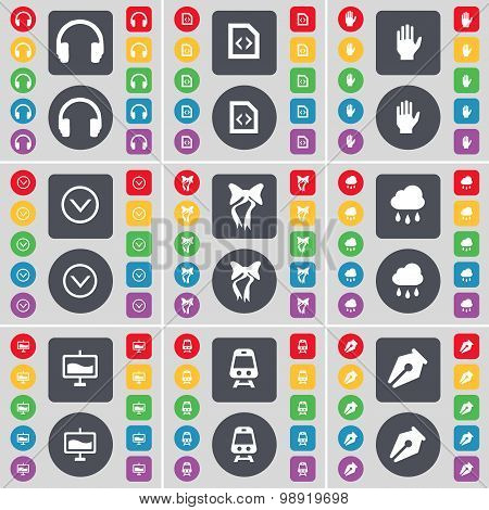 Headphones, File, Hand, Arrow Down, Bow, Cloud, Graph, Train, Ink Pen Icon Symbol. A Large Set Of Fl