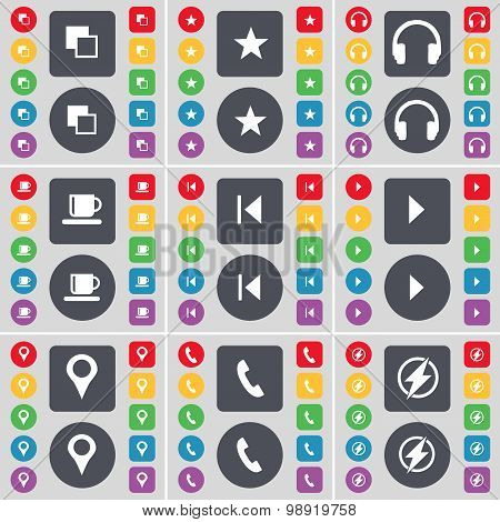 Copy, Star, Headphones, Cup, Media Skip, Media Play, Checkpoint, Receiver, Flash Icon Symbol. A Larg
