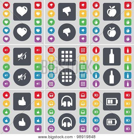 Heart, Dislike, Apple, Mute, Apps, Bottle, Like, Headphones, Battery Icon Symbol. A Large Set Of Fla