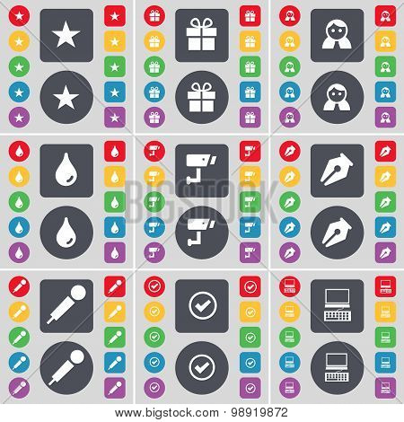 Star, Gift, Avatar, Drop, Cctv, Ink Pen, Microphone, Tick, Laptop Icon Symbol. A Large Set Of Flat,