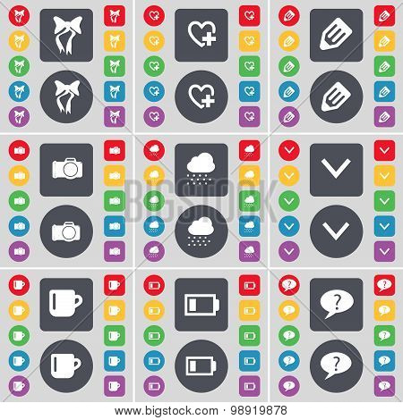 Bow, Heart, Pencil, Camera, Cloud, Arrow Down, Cup, Battery, Chat Bubble Icon Symbol. A Large Set Of