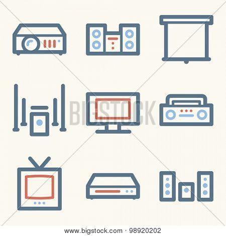 Audio video web icons