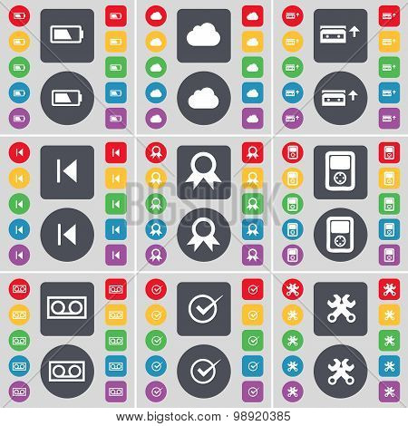Battery, Cloud, Cassette, Media Skip, Medal, Player, Tick, Wrench Icon Symbol. A Large Set Of Flat,