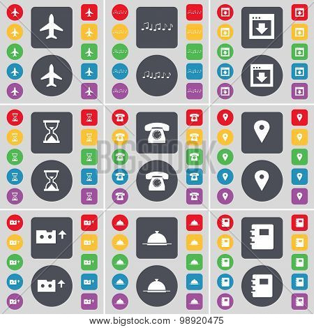 Airplane, Note, Window, Hourglass, Receiver, Checkpoint, Cassette, Tray, Notebook Icon Symbol. A Lar