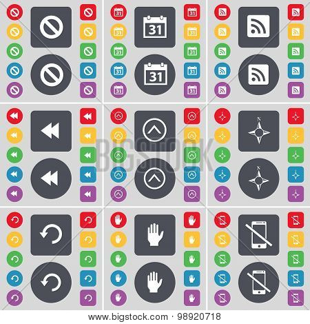 Stop, Calendar, Rss, Rewind, Arrow Up, Compass, Reload, Hand, Smartphone Icon Symbol. A Large Set Of