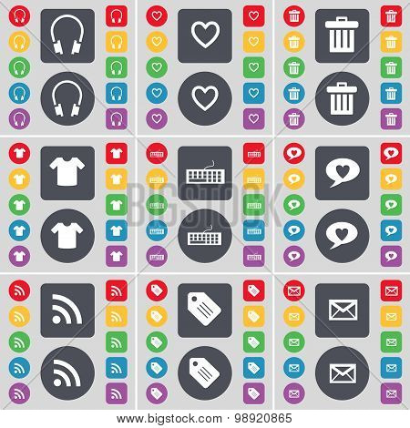 Headphones, Heart, Trash Can, T-shirt, Keyboard, Chat Bubble, Rss, Tag, Message Icon Symbol. A Large