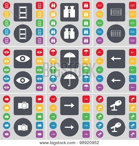 Negative Films, Binoculars, Equalizer, Vision, Umbrella, Arrow Left, Camera, Arrow Right, Microphone